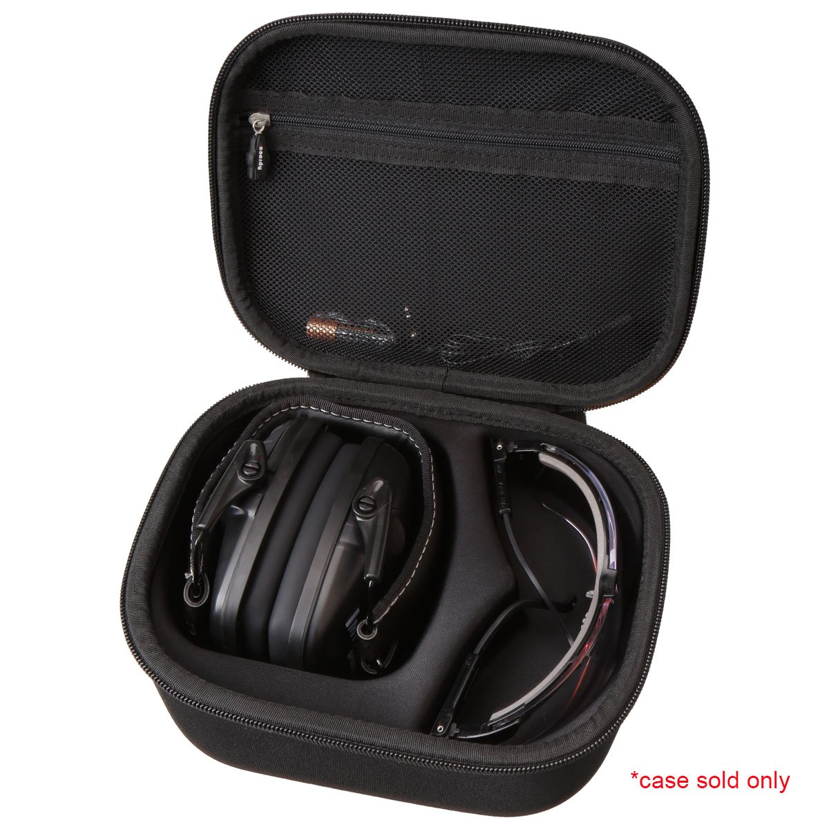 Aproca Hard Storage Travel Case Compatible Howard Leight by Honeywell Impact Sport Sound Amplification Electronic Shooting Earmuff and Genesis Sharp-Shooter Safety Eyewear Glasses(black)