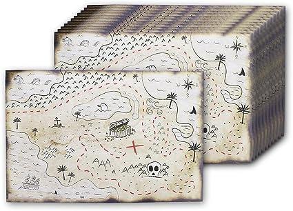 Blue Panda Juego de accesorios de fiesta de cumpleaños del mapa del tesoro pirata de doble cara (paquete de 12) - Mapa de enrollamiento de calavera pirata de estilo vintage - 12