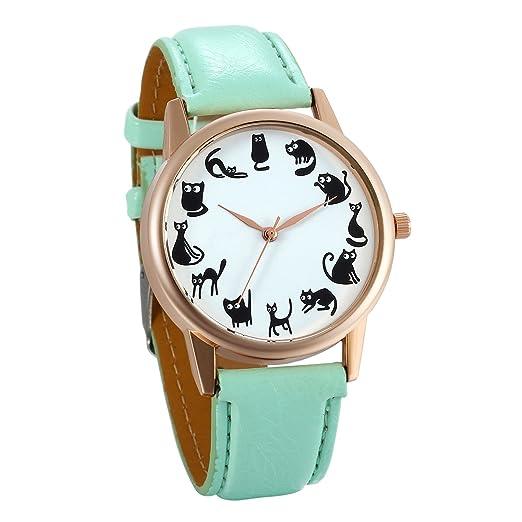 JewelryWe Relojes de Verano Reloj de Pulsera para Mujer 12 Gatos Adorables, Reloj Analogico Cuarzo Correa de Cuero Verde Buen Regalo Original: Amazon.es: ...