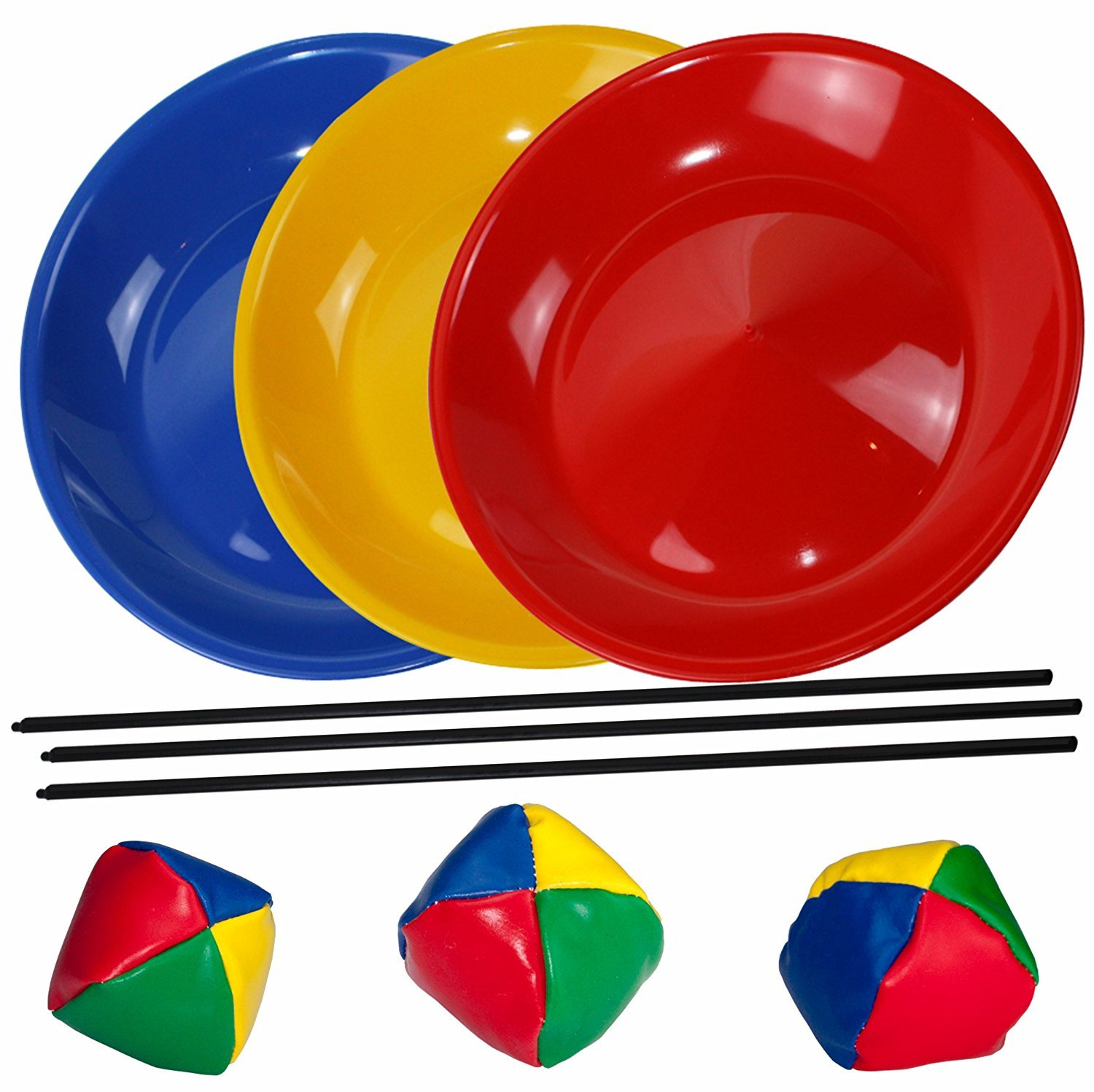 SchwabMarken Juggling Set, 3 Spinning / Juggling Plates with Plastic Sticks and Juggling Balls, Mixed Colours