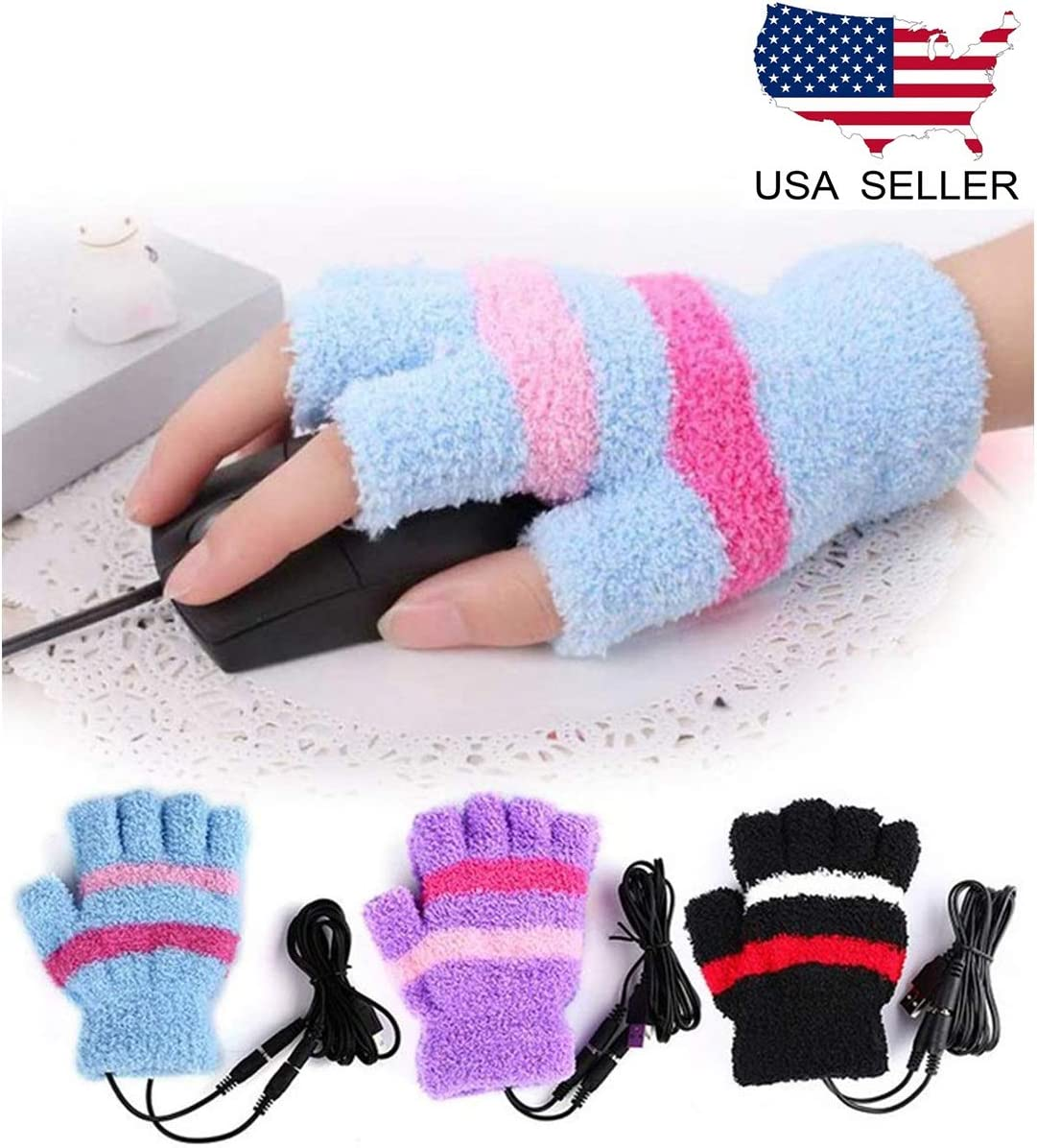 HoFire USB Heating Winter Gloves Women Hand Warm Gloves USB Heater Fingerless Warmer Mitten Gloves