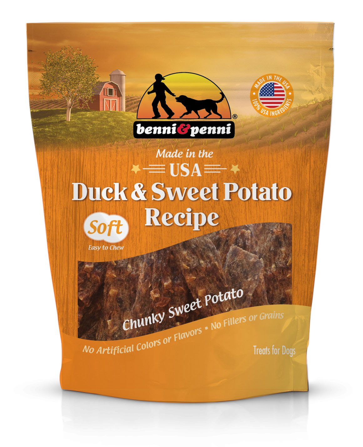 Benni & Penni USA Raised Duck and Sweet Potato Soft Chew Jerky 6 oz.