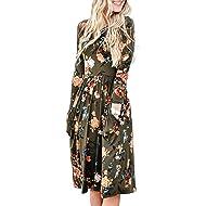 40216cedfaa ZESICA Women s Long Sleeve Floral Pockets Casual Swing Pleated T-Shirt Dress