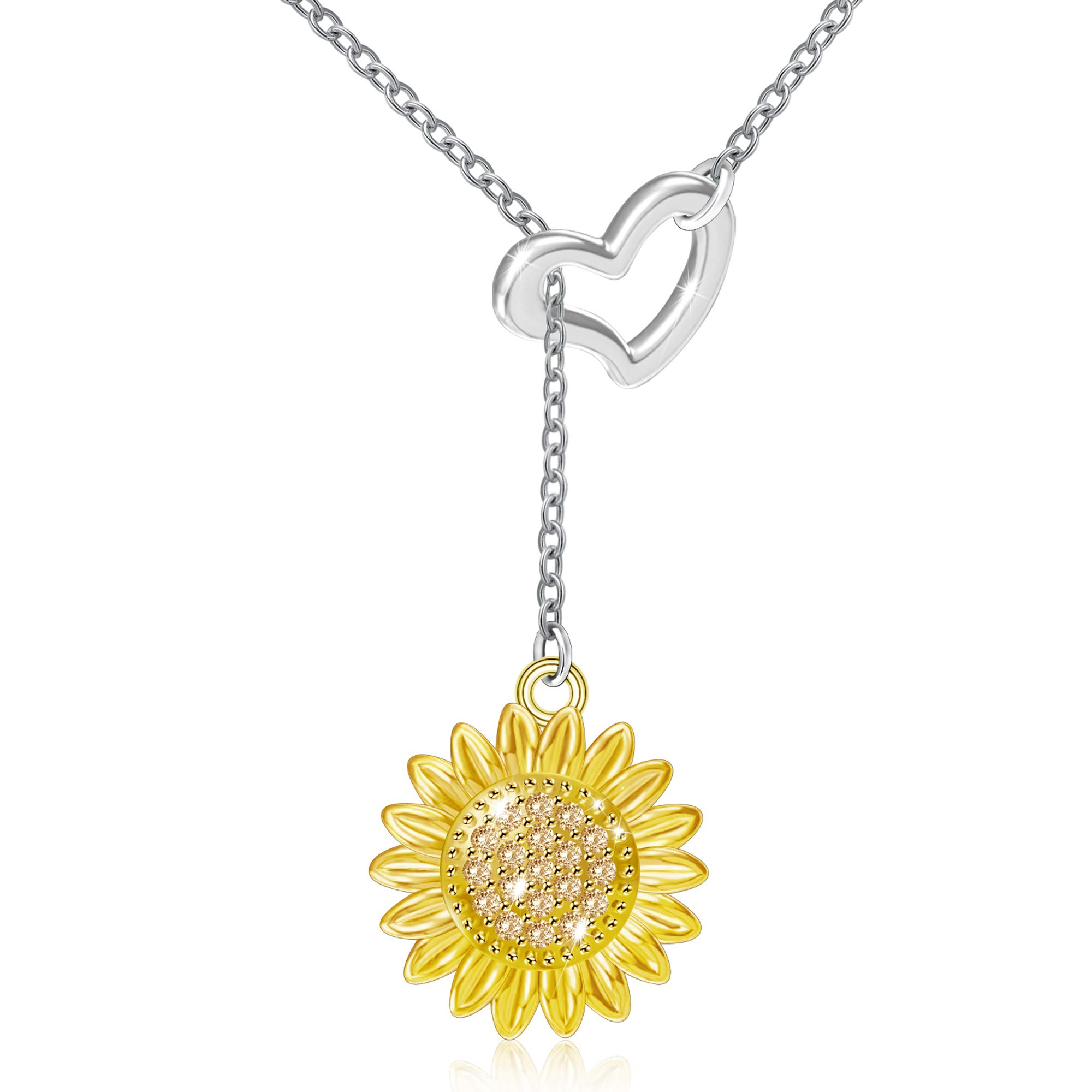 Freeco 925 Sterling Silver Sunflower with CZ Warmth Positivity Jewelry Y Pendant Necklace for Women Girls