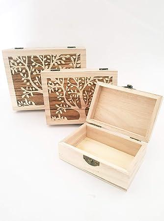 takestop® Juego de 3 Piezas Cajas árbol MATRIOSKA RF 63807 Caja Rectangular Madera joyero decoupage Estuche Sonriente joyero: Amazon.es: Electrónica