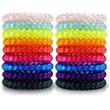 79STYLE Spiral Hair Ties (50Pcs) Colorful Coil Hair Ties No Crease Traceless Hairband Ponytail Holder Scrunchies For Girls Women (Crystal10 Colors -Large Size)
