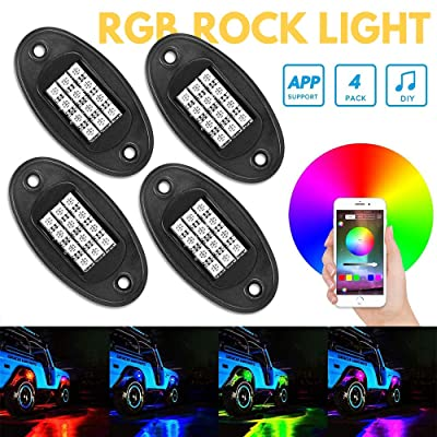 RGB LED Rock Lights, Led Car Lights Bluetooth Control Colorful Atmosphere Lights Kits,(Timing Function, Music Mode )Car UnderGlow Lights for Trucks and Various Car: Automotive