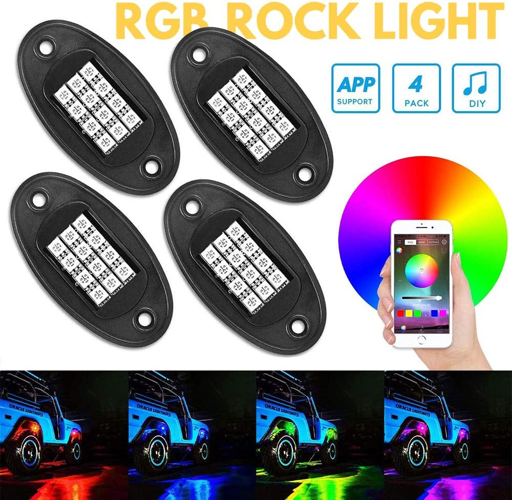 Amazon Com Directtyteam Rgb Led Rock Lights Bluetooth Control 12v 20w Multicolor Neon Led Light Kits Ip68 Waterproof Timing Function Music Mode For Jeep Off Road Truck Car Atv Suv Motorcycle 4 Pairs