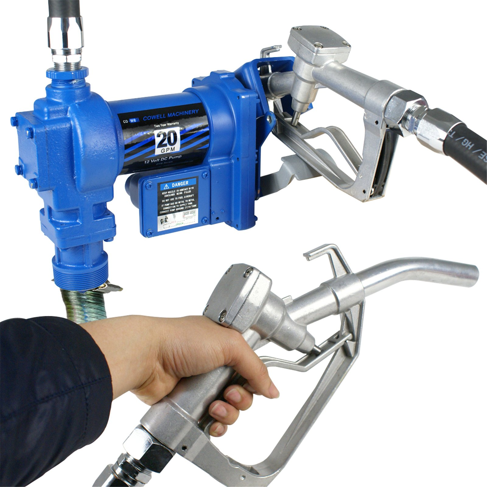F2C 12 Volt 20GPM Electric Diesel Kerosene Gasoline Fuel Transfer Pump Fillrite Manual Nozzle Hose Kit … Blue by F2C (Image #1)