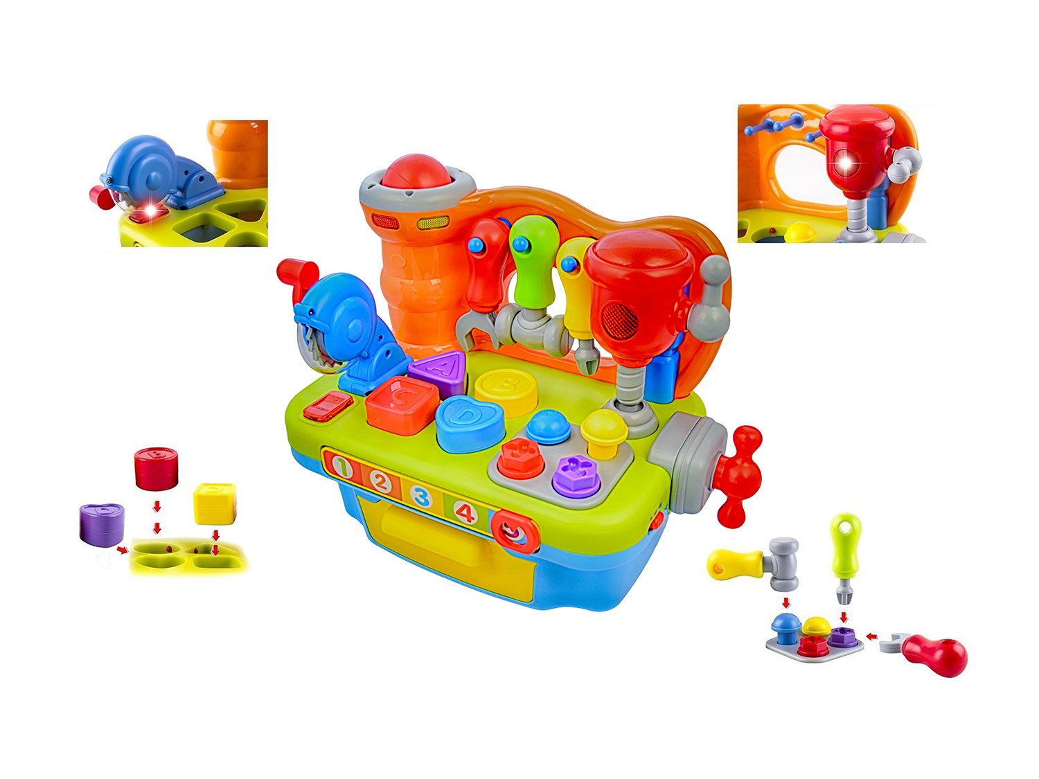 Deluxe Toy Workshop Playset for Kids with Interactive Sounds & Lights | Great Educational Learning Toy for Teaching Colors, Shapes, Numbers, and The Alphabet | Great Gift for Toddler Boys & Girls by CoolToys (Image #2)