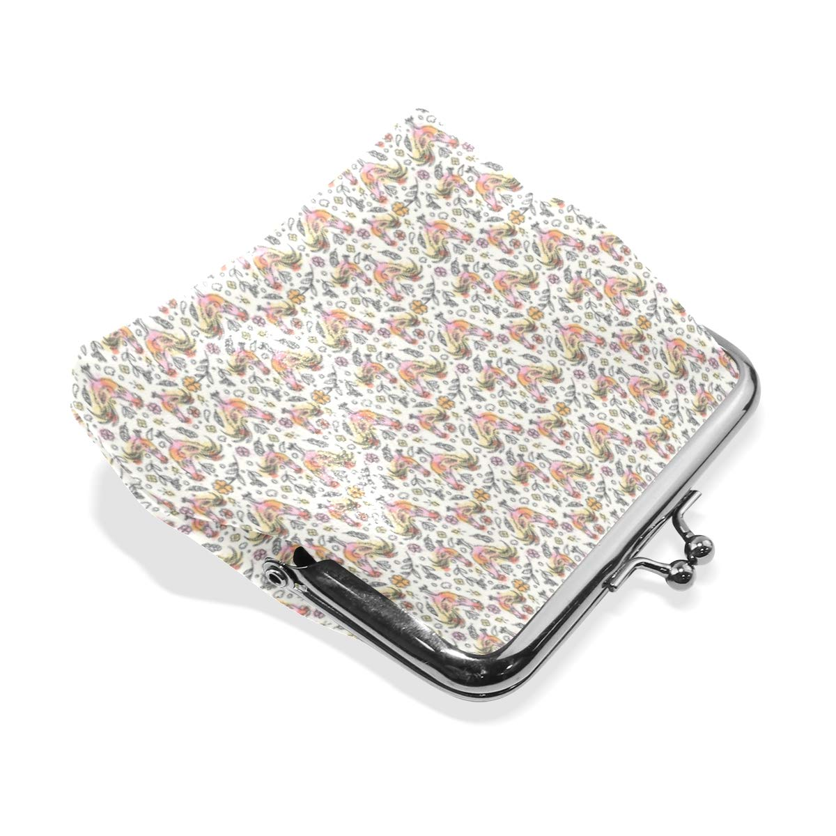 Exquisite Buckle Coin Purses Red Rooster Decor Gift Mini Wallet Key Card Holder Purse for Women