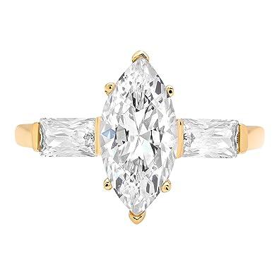 97f9faa18f311 Amazon.com: 2.10 ct Three Stone Marquise & Baguette Brilliant Cut ...