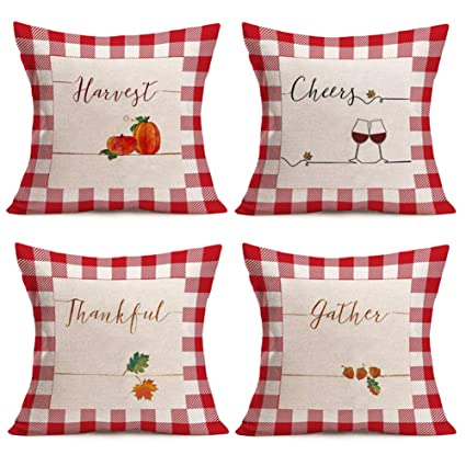Xihomeli Harvest Pumpkin Throw Pillow Covers Red and White Plaid with Autumn Maple Leaves Decorative Pillow Cover 4Pack Thanksgiving Blessing Pillow Case Cotton Linen 18x18 Inch(Harvest Plaid Set) best autumn throw pillows