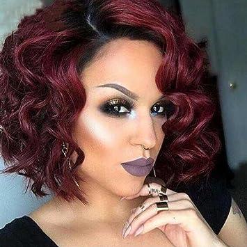 Peluca roja larga ondulada larga atractiva para las mujeres Pelo suave sintético de Ombre negro al