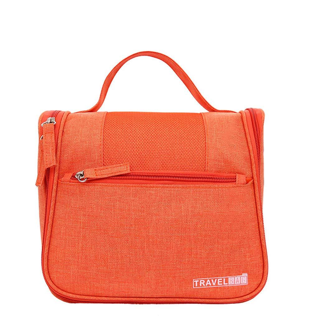Kiminana Bags,Men's and Women's Solid Color Multi-Function Fashion Leisure Travel Bag Storage Bag wash Bag Orange
