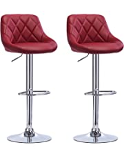WOLTU #972 Bar Stools White Bar Chairs Breakfast Dining Stools for Kitchen Island Counter Bar Stools Set of 2 pcs Leatherette Exterior