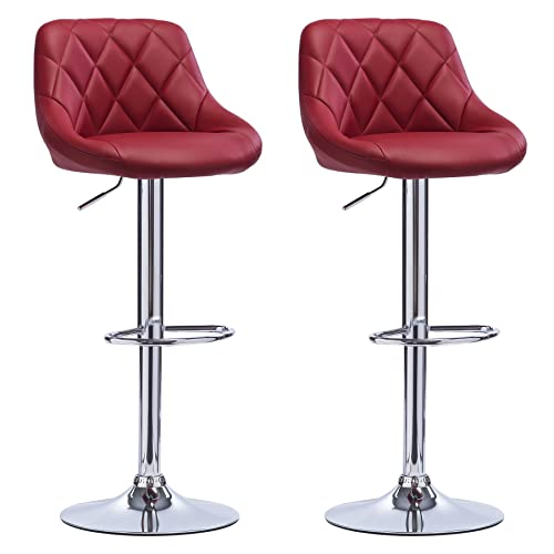 WOLTU Bar Stools Dark Red Bar Chairs Breakfast Dining Stools For Kitchen  Island Counter Bar Stools