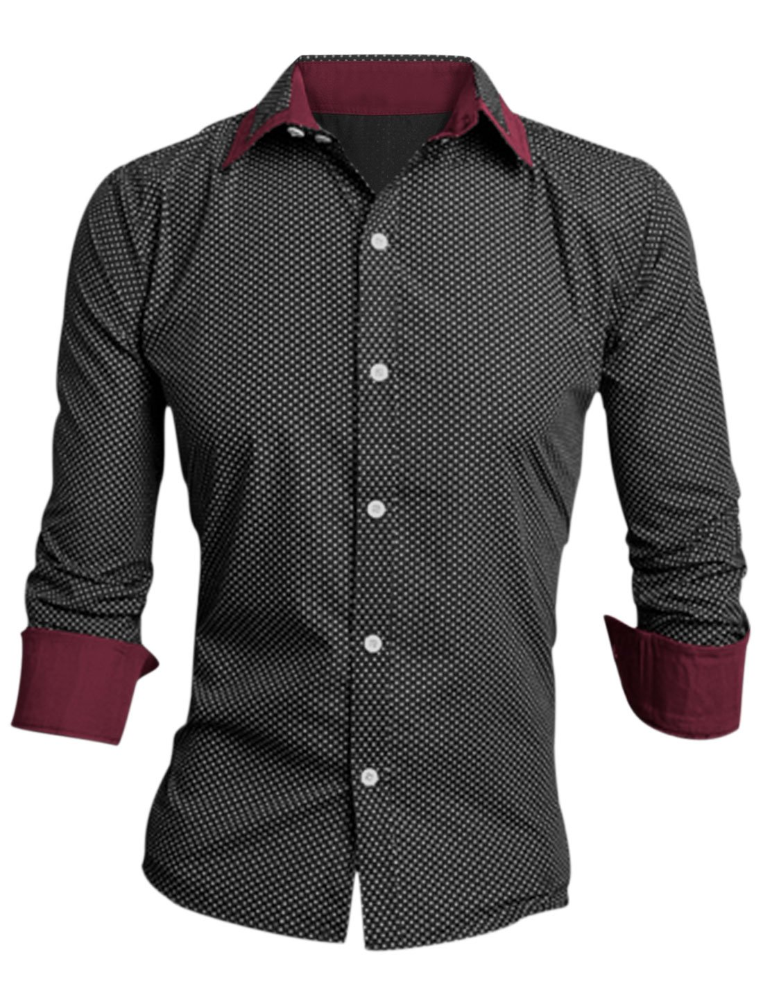 Allegra K Men Point Collar Long Sleeve Polka Dots Prints Dress Shirts a14092500ux1054