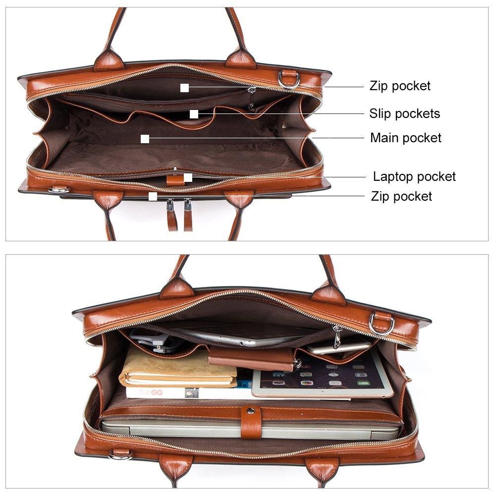 BOSTANTEN Leather Briefcase Shoulder Laptop Business Vintage Slim Bags for Men /& Women
