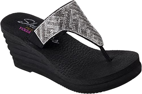 skechers black wedge flip flops