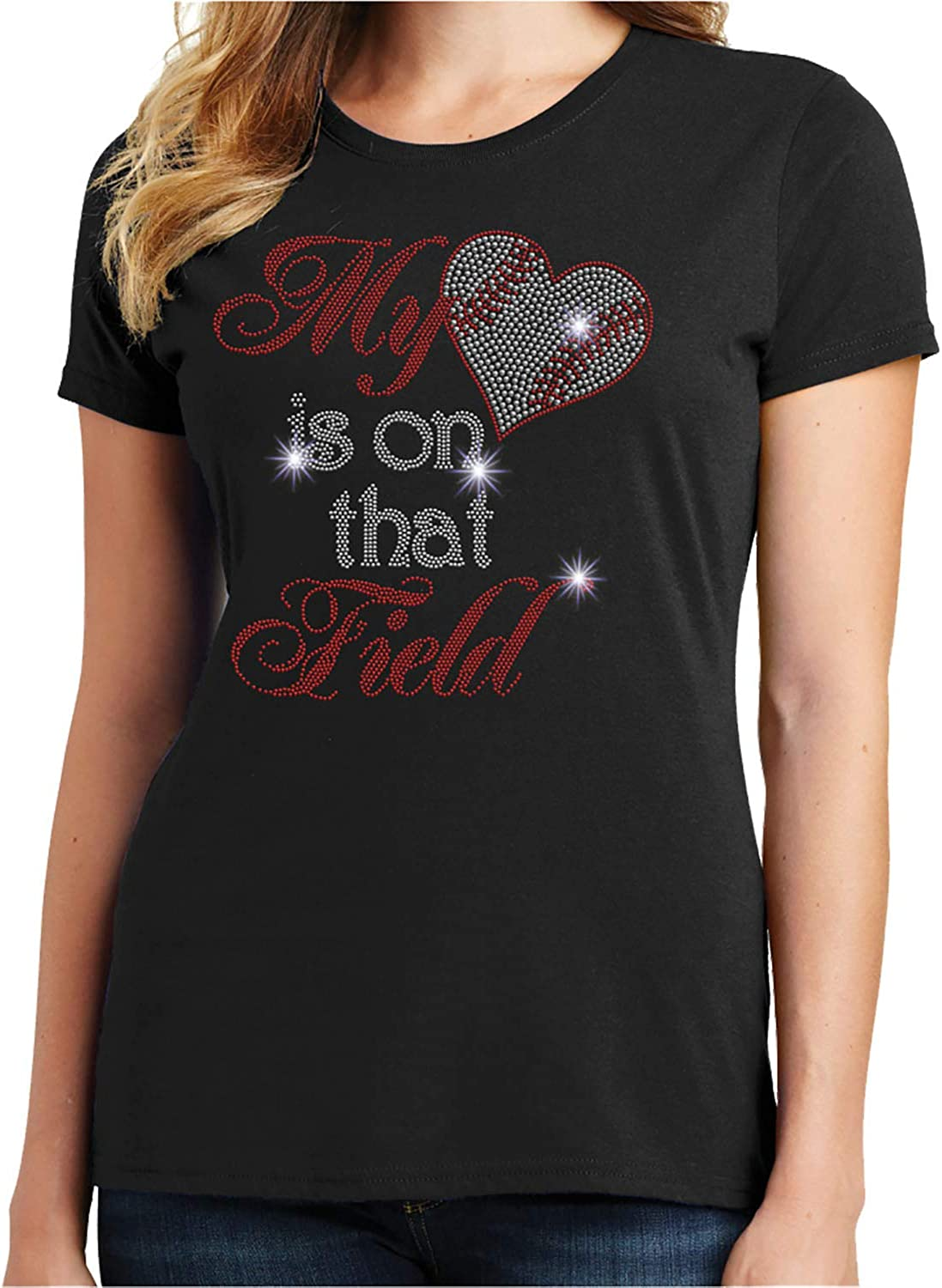 Baseball-My Heart is on That Field Spangle Rhinestone Bling Shirt