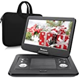 NAVISKAUTO 14 Inch Portable DVD Player HD LCD Screen 4000mAh 5 Hour Built-In Rechargeable Battery Support CD MP3 USB/SD AV Out, Includes Waterproof Sleeve Bag Car charger