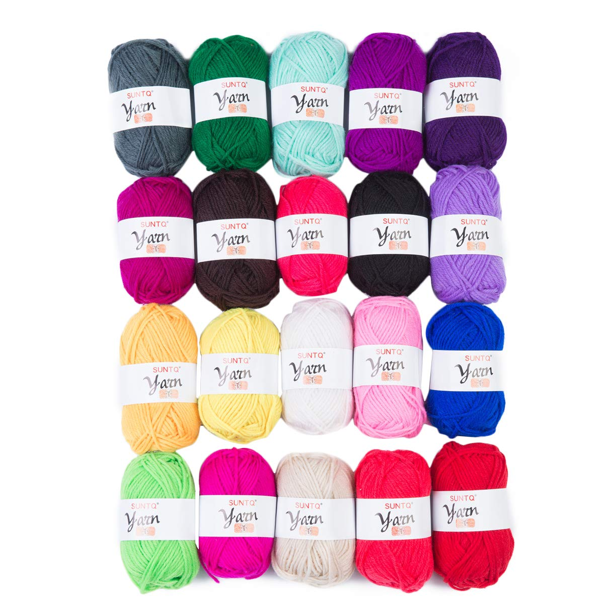 SUNTQ 100% Acrylic Yarn 20 x 50yard (total about 1000 yards) Skeins Bonbons Yarn Assorted Colors for Crochet & Knitting Assorted Rainbow Variety Colored Assortment