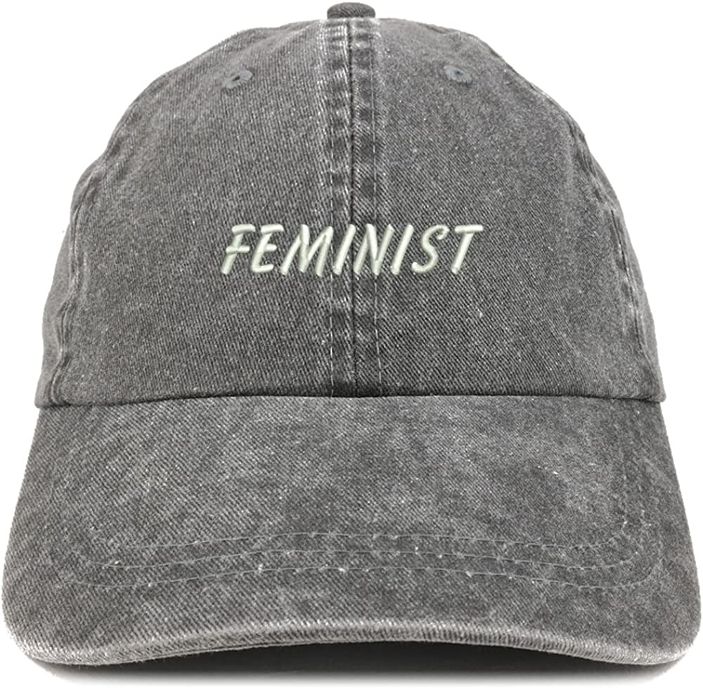 Trendy Apparel Shop Feminist Embroidered Washed Cotton Adjustable Cap
