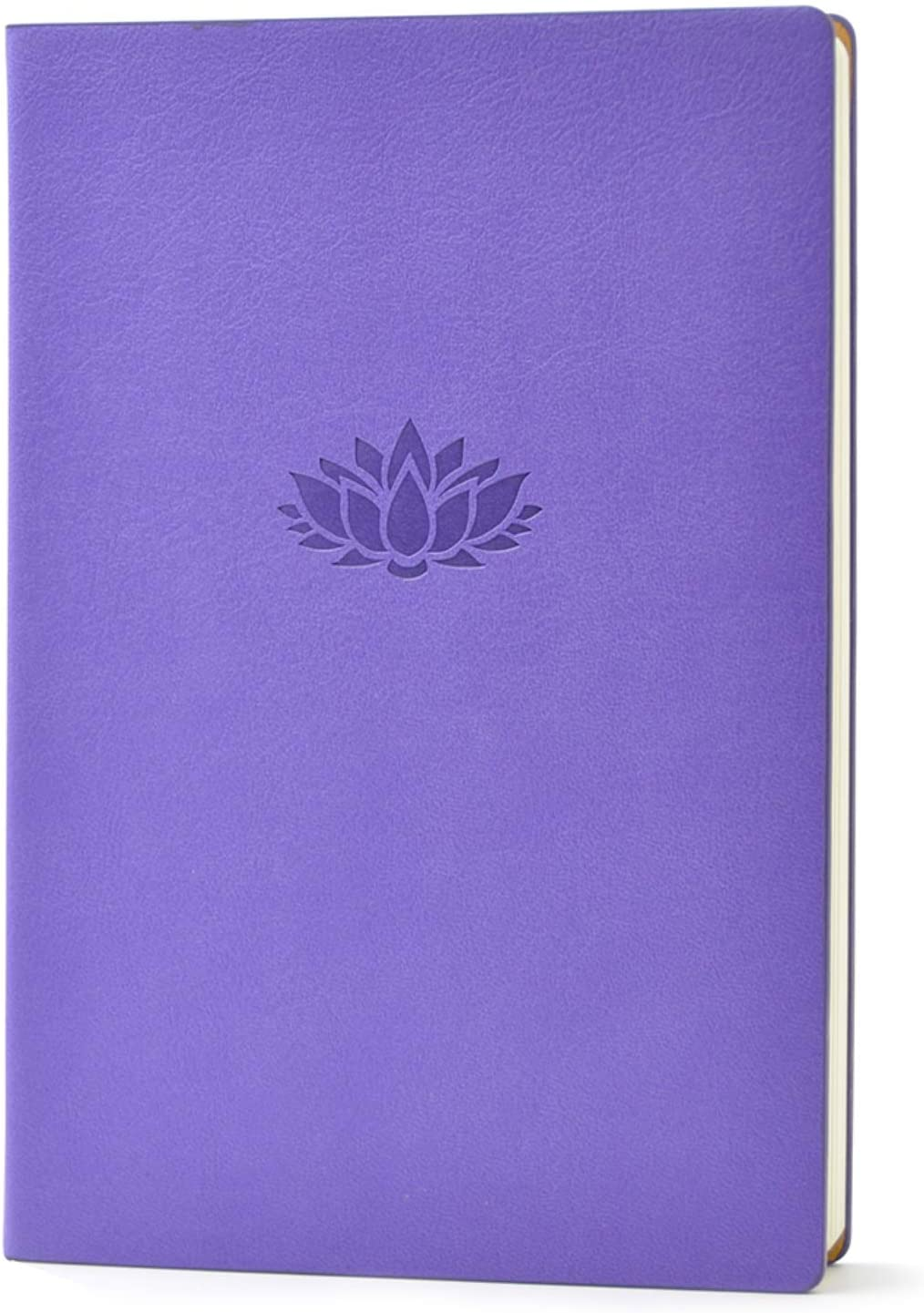 Evolway Fitness Journal and Planner, Diet and Workout Log, Gray Panther/Yellow Flash/Purple Lotus Design, Leather Cover, Sturdy Binding, Thick Pages & Laminated