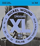 D'Addario EXL116 Drop Tuning Satz Nickelsaiten für E-Gitarre 011' - 052' Medium Top/Heavy Bottom