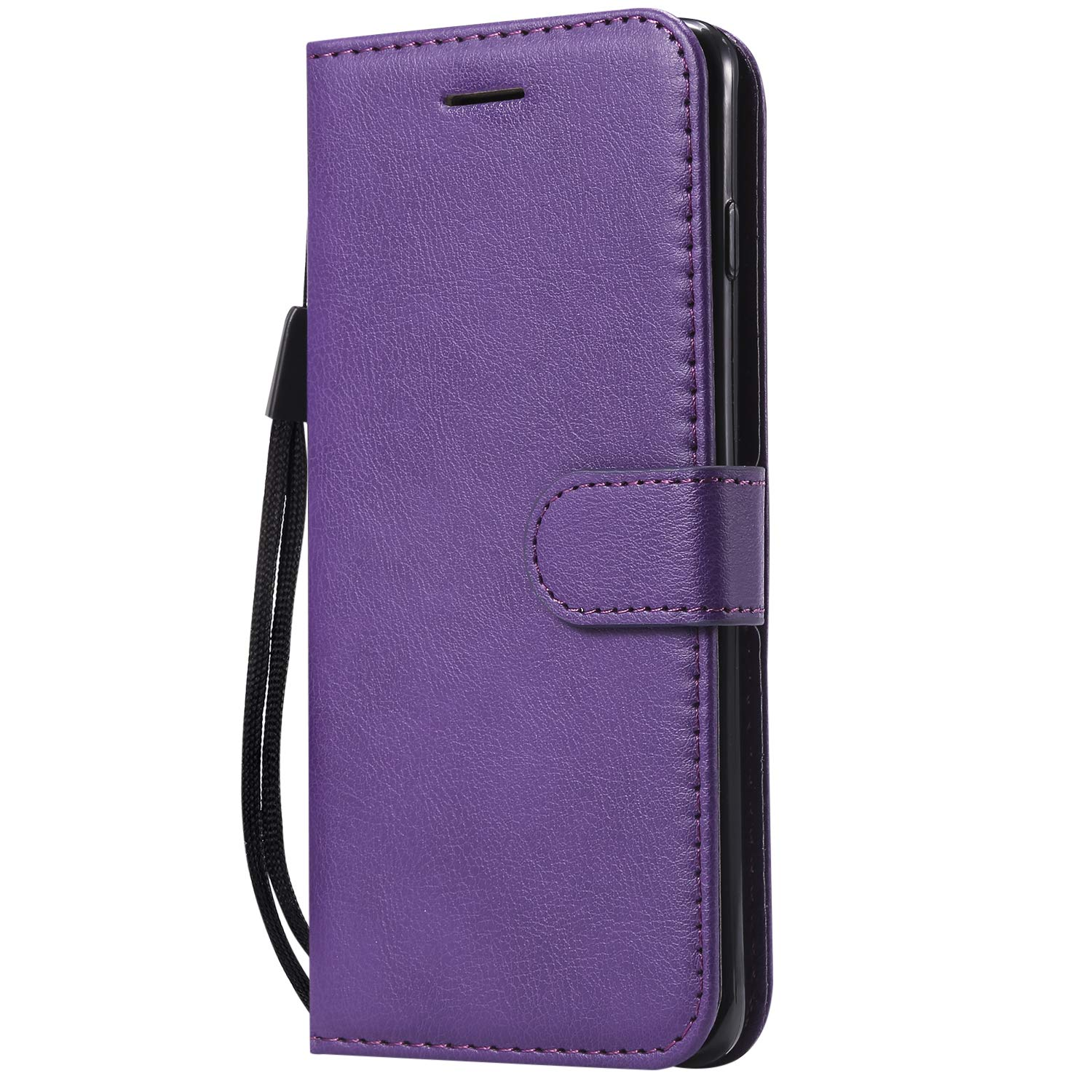 Galaxy S10e Case,AIIYG DS Classic Pure Color [Kickstand Feature] Flip Folio Leather Wallet Case with ID and Credit Card Pockets for Samsung Galaxy S10e,Purple