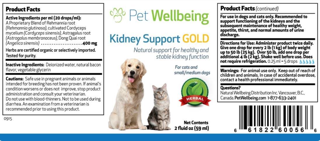 Pet Wellbeing Oro del Riñón De Apoyo para Los Gatos - Soporte Natural para La Salud Renal Felino - 2 Oz (59 ML): Amazon.es: Productos para mascotas