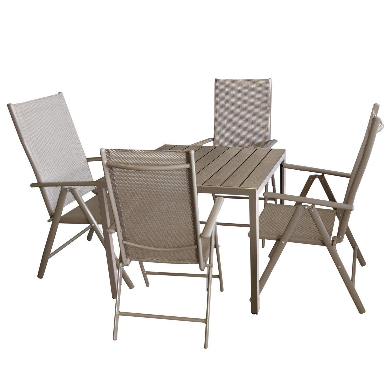5tlg. Bistrogarnitur Aluminium Gartentisch mit Polywood Tischplatte, Champagner / Mokka 90x90cm + 4x Hochlehner mit 7-fach verstellbarer Rückenlehne Textilenbespannung Gartengarnitur