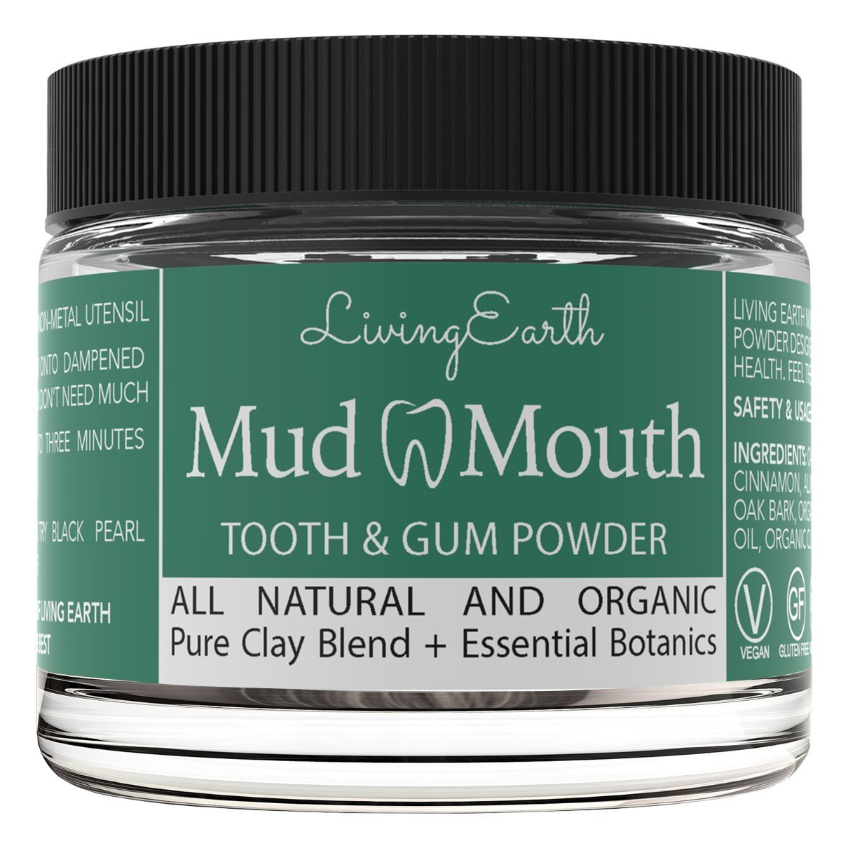 Mud Mouth All Natural Organic Tooth Powder For Sensitive Teeth, Toothache, Loose Teeth, Receding Gums, & Organic Teeth Whitening