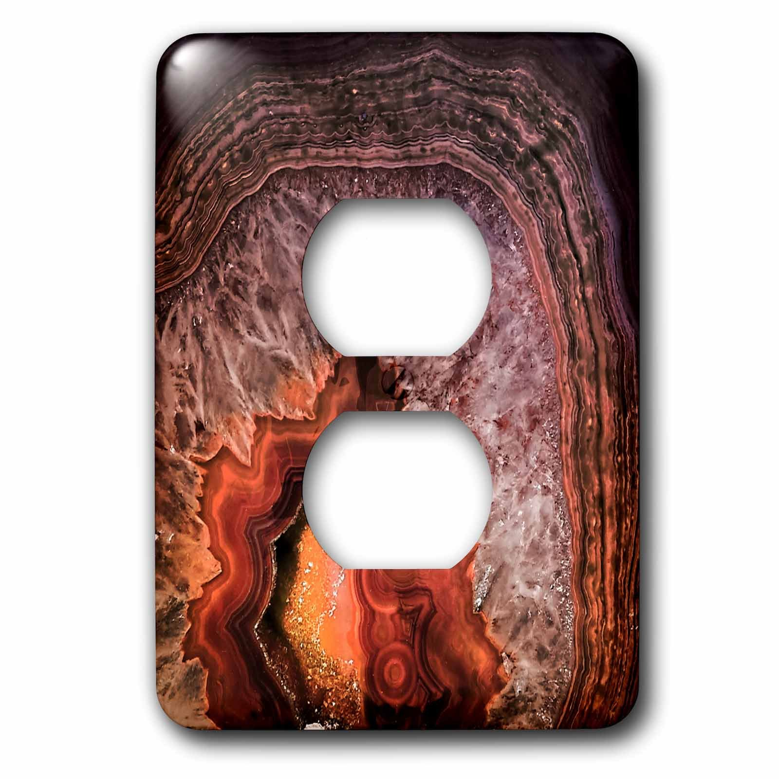 3dRose Uta Naumann Pattern - Image of Luxury Copper Coffee Brown Marble Agate Gem Mineral Stone - Light Switch Covers - 2 plug outlet cover (lsp_274957_6)