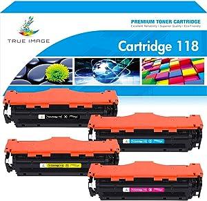 True Image Compatible Toner Cartridge Replacement for Canon 118 CRG118 Imageclass MF726Cdw MF8580Cdw MF8380Cdw MF8350Cdn MF8500C MF720C LBP7660Cdn Printer Ink (Black Cyan Yellow Magenta, 4-Pack)