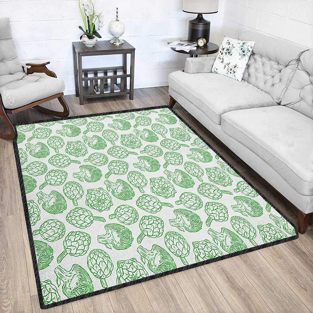 Artichoke Modern Area Rug with Non-Skid,Vegetables Hand Drawn Cooking Ingredients Healthy Foods Vegan Way Go Green Durable and Resistant to Soiling Pistachio Green 79''x95'' by Philip C. Williams