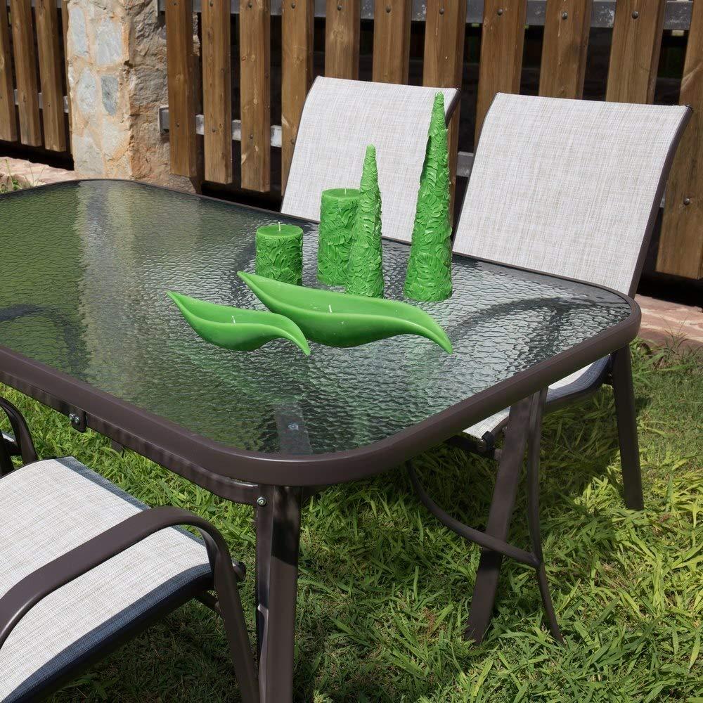 LOLAhome Mesa de jard/ín de Acero marr/ón para terraza y Exterior Garden