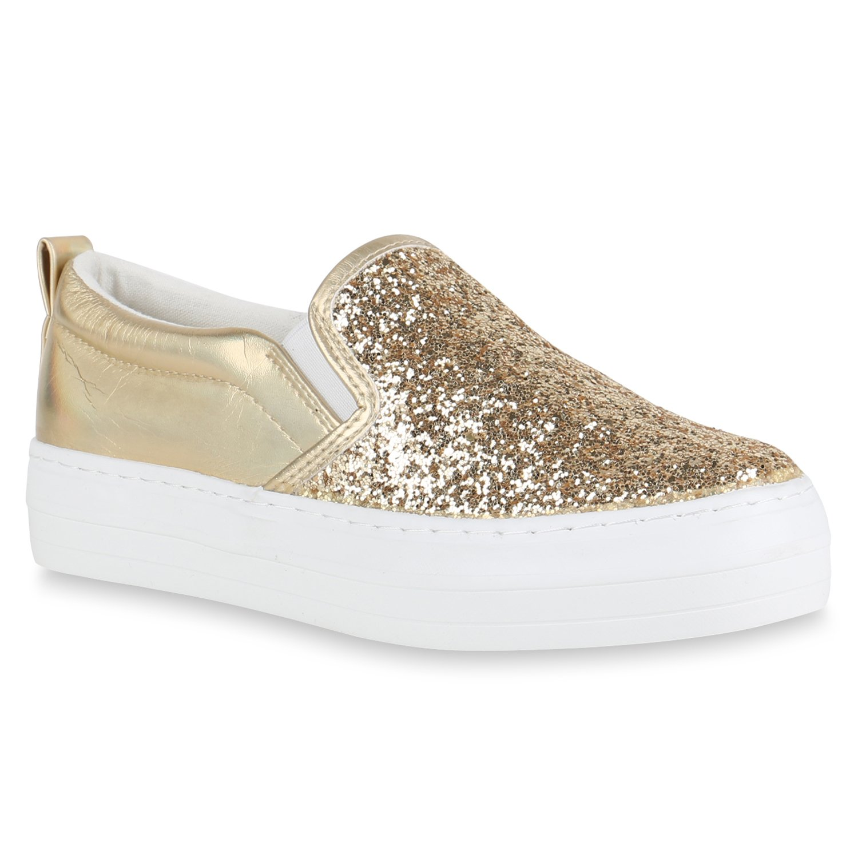 Stiefelparadies Damen Sneaker Slip Ons mit Plateau Glitzer Flandell  37 EU|Gold Glitzer Plateau