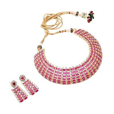 b85de5ba245e8 Buy Jewar Mandi Ruby Necklace Set CZ ad Two Tone fine Plated Pearl ...