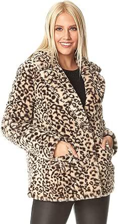 Roman Originals Abrigo de piel sintética para mujer, con diseño de oso de peluche, informal, suave, con textura, de gran tamaño, cálido, acogedor, para otoño e invierno, favorecedor
