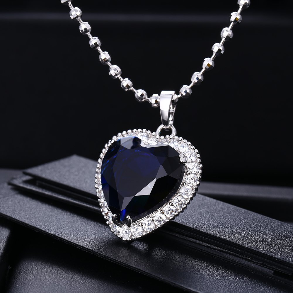 Xuping Fashion Ocean Blue Big Heart Synthetic Cubic Zirconia Gold Plated Alloy Pendant Necklace for Women Boxing Day Week POJgft2e