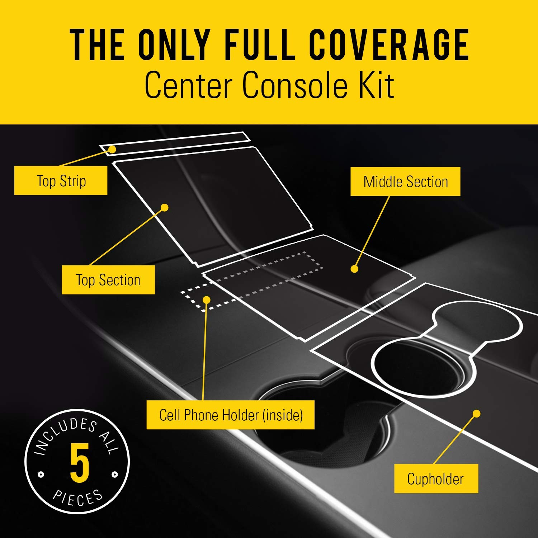 Matte Black EV Armor Tesla Model 3 Center Console Wrap Kit