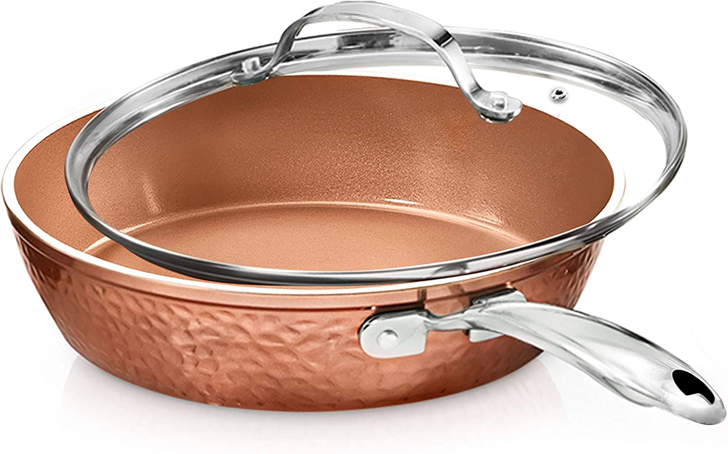 "Gotham Steel 12"" Nonstick Fry Pan with Lid – Hammered Copper Collection, Premium Aluminum Cookware with Stainless Steel Handles, Induction Plate for Even Heating, Dishwasher & Oven Safe"