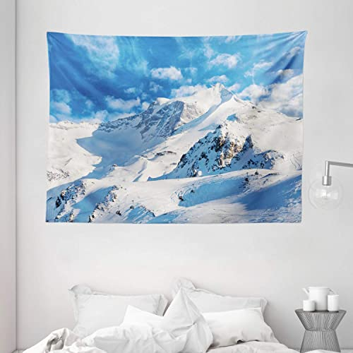 Ambesonne Mountain Tapestry, Mountain Landscape Ski Slope Winter Seasonal Sport Telfer and Snowboarding Image, Wide Wall Hanging for Bedroom Living Room Dorm, 80 X 60 , White Blue