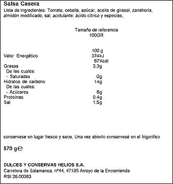 Helios Salsa Casera, 100g: Amazon.es: Alimentación y bebidas