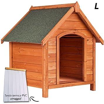 Caseta de madera para perro con techo a dos aguas para exterior o jardín, tamaño grande: 91 x 101 x 127 (altura) cm.: Amazon.es: Hogar