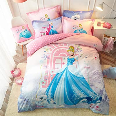 Casa 100% Cotton Kids Bedding Set Girls Princess Barbie Duvet Cover and Pillow case and Fitted Sheet,Girls,3 Pieces,Twin: Home & Kitchen