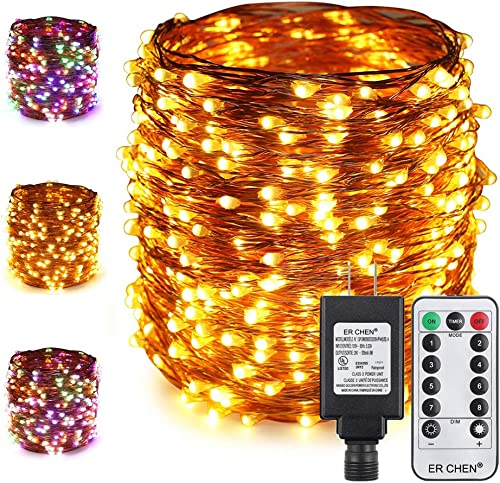 ER CHEN Color Changing LED String Lights Plug in with Remote Timer, 170Ft 500 LEDs Waterproof Copper Wire Dimmable Christmas Fairy Lights for Indoor and Outdoor Decoration Warm White Multicolor