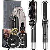 Folding Beard Straightener for Men, Deegotech 5 in 1 Travel Compact Heated Beard Brush Comb Kit w/Beard Growth Oil & Beard Ba